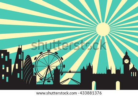 London skyline behind sun ray background,London city silhouette ,Vector illustration