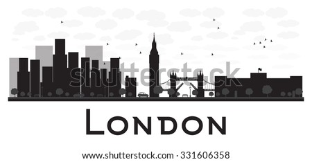 London Skyline Black And White Silhouette Vector Illustration Simple Flat Concept For Tourism Presentation