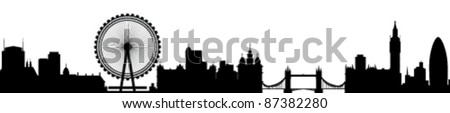 London Skyline Detailed Silhouette Vector Illustration - stock vector
