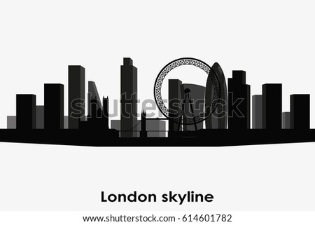 London Skyline Vector Silhouette Black And White Cityscape
