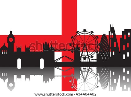 London skyline with England flag background,London city silhouette ,Vector illustration
