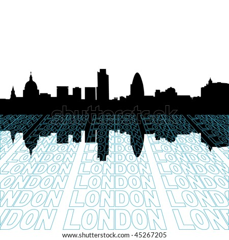 London skyline with perspective text outline foreground - stock vector