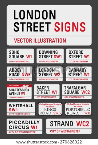 London street signs - stock vector