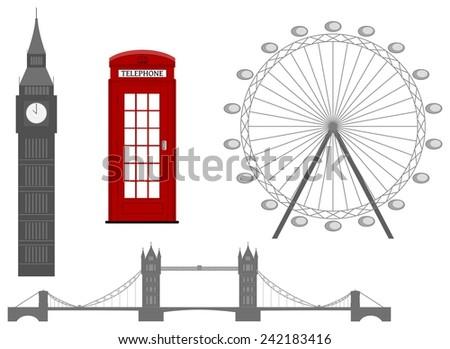London symbol, silhouette icon, vector illustration - stock vector