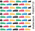 London - symbols - cab in olympics colours - stock vector
