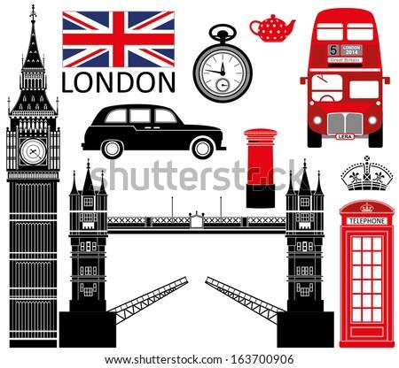 London symbols set - stock vector