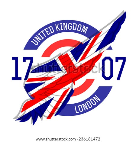 London t-shirt design. Tee templates with wing and United Kingdom flag colors and symbols. UK t-shirt vector graphics. - stock vector