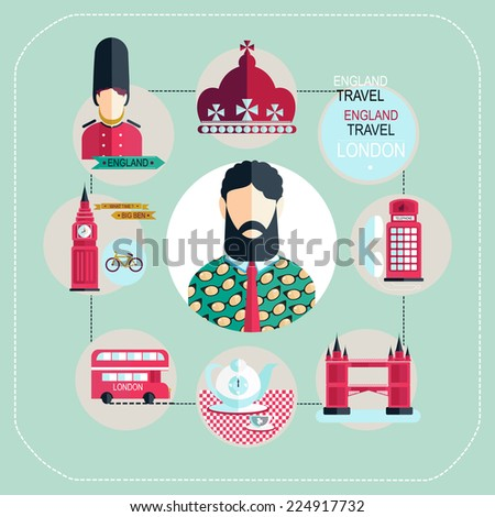 london tourist illustrations flat - stock vector