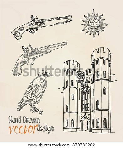 london. tower. set  - stock vector