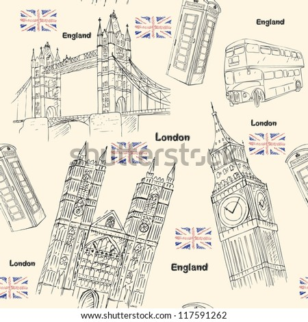 London travel seamless pattern with sights architecture elements - stock vector