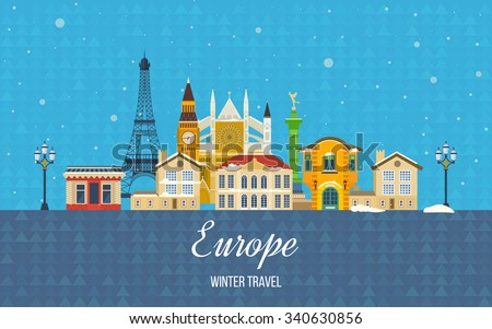London, United Kingdom and France flat icons design travel concept. Travel to Europe for christmas. Invitation card. Travel to Europe for winter. Merry Christmas greeting card design.  - stock vector