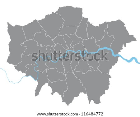 London vector map illustration with all boroughs on separate layer - stock vector
