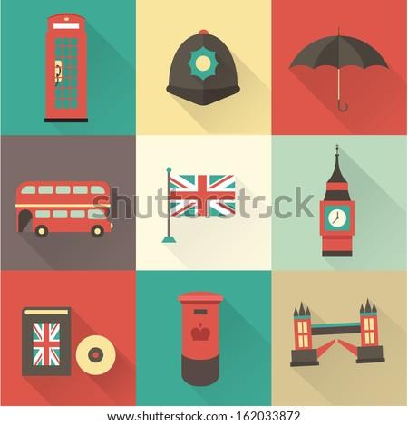 London vintage icons vectors - stock vector