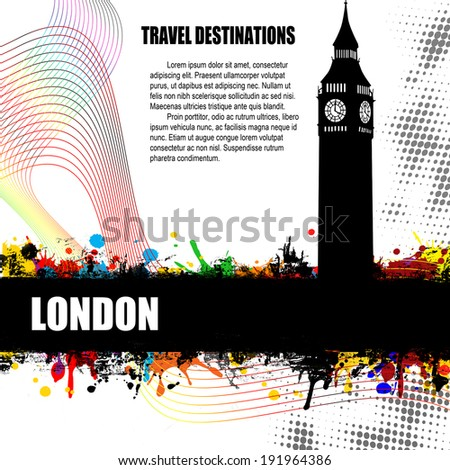 London, vintage travel destination grunge poster with colored splash and space for your text, vector illustration - stock vector