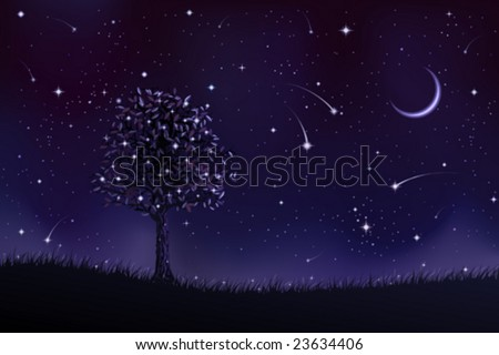 Lone tree at night (other landscapes are in my gallery) - stock vector