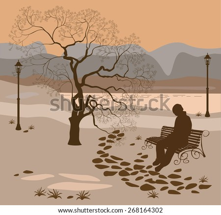 Loneliness, a walk in the park man  - stock vector