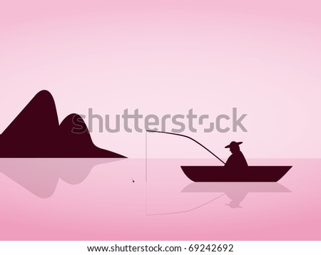 lonely angler are fishing on a beautiful pink morning - stock vector