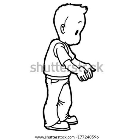 lonely boy pulls hands - stock vector