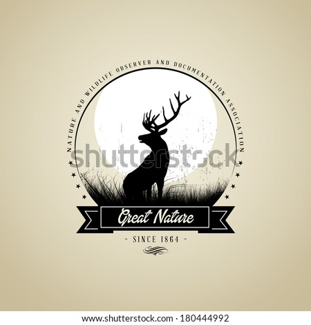 Lonely Deer buck on fool moon badge - stock vector