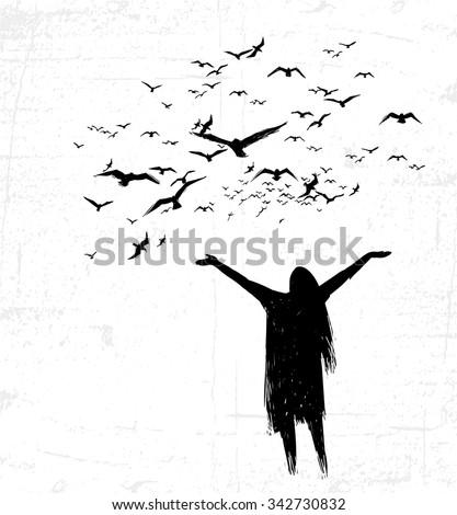 Lonely girl opening hands toward the birds. Handmade. - stock vector