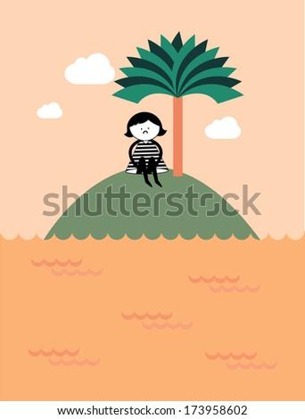 lonely girl vector/illustration - stock vector