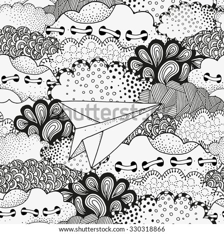 Lonely paper airplane flying in the sky. Art background with vector abstract artistically clouds. Pattern for coloring book. Made by trace from sketch. Ink pen. Zentangle. Black and white pattern. - stock vector