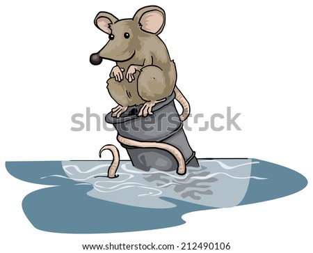 Lonely rat sitting on a floating can, in water, vector illustration - stock vector