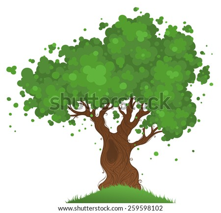Lonely tree. Tree isolated on white background. - stock vector