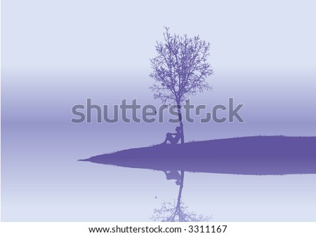 lonely  woman sits under a tree - stock vector