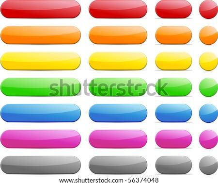 Long and short pill buttons. - stock vector