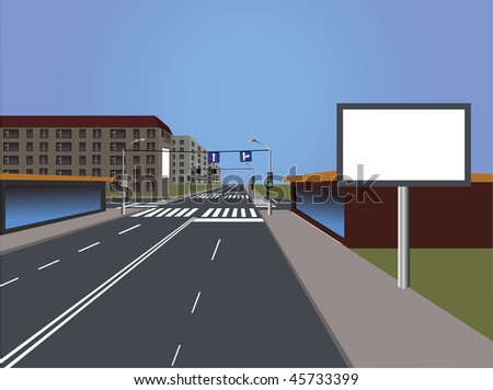 Long asphalt road.Street.House. - stock vector