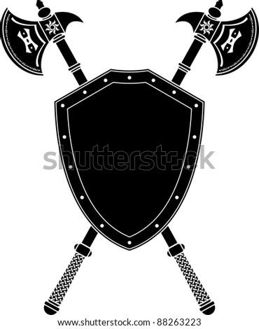 long axes and shield. stencil. vector illustration - stock vector