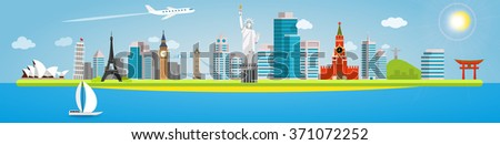 Long banner on the topic of traveling around the world. Landmarks in the background of the city. Opera House, Pisa, Eiffel, Big Ben, Tower, Statue of liberty, Kremlin, Christ Redeemer and Torii Gate. - stock vector