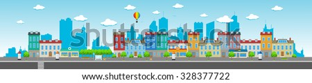 Long city street with various urban buildings, houses, shops, cafes, trees and facilities. - stock vector