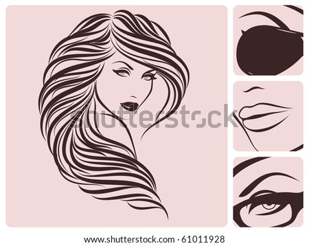 Long curly hairstyle. Vector illustration. - stock vector