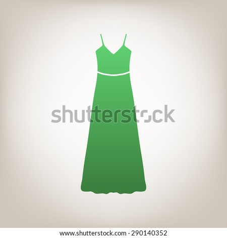 long Dress, Evening dress or sundress with belt, the silhouette. Menu item in the web design. - stock vector