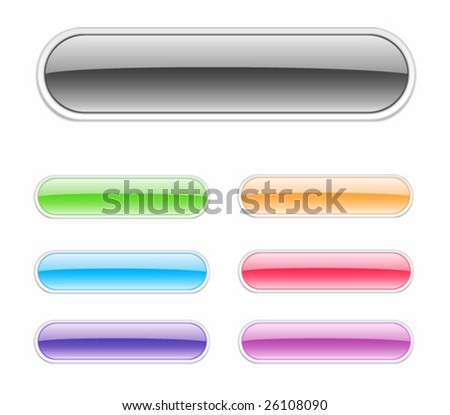 Long glossy button. For other similar images from the series, please, check my portfolio. - stock vector