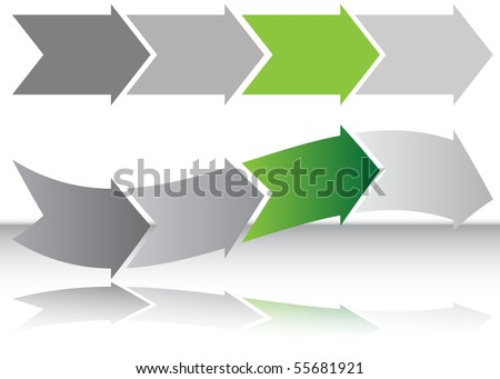 Long Green Arrow Chart - stock vector