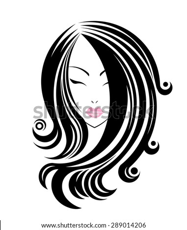 Hairstyles Logo : Long hair style icon, logo women face on white background, vector ...