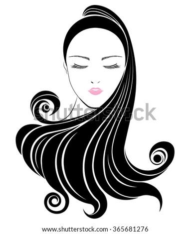 Long hair style icon, logo women face on white background, vector - stock vector