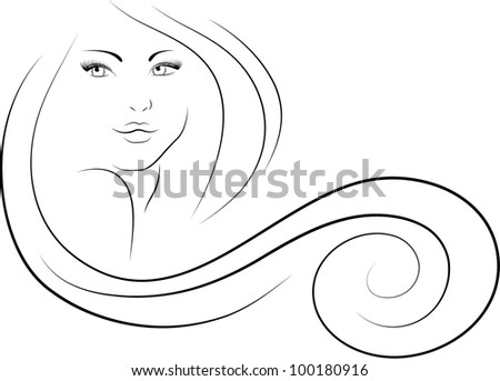 long-haired woman - stock vector