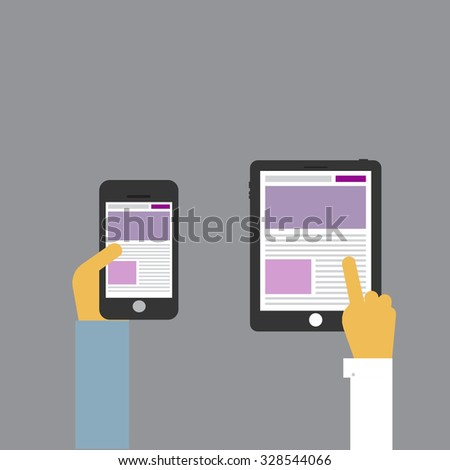 Long hands using device. Electronics gadget concept phone tablet. Flat design vector illustration. - stock vector