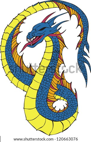 Long japanese dragon worm. Color vector illustration. - stock vector