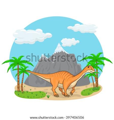Long neck orange dinosaur standing in the nature illustration - stock vector