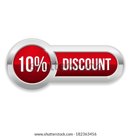 Long red fifty percent discount button with metallic border - stock vector