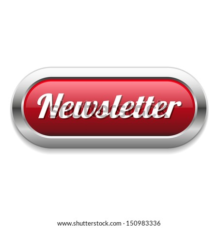 Long red newsletter button - stock vector