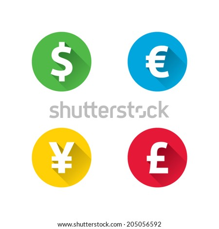 Long Shadow Currency Icons - stock vector