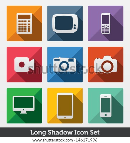 Long Shadow Icon Set | Trendy Design | Fashionable icons | Modern Minimal Look | Clean Design Concept | Smart Devices - stock vector