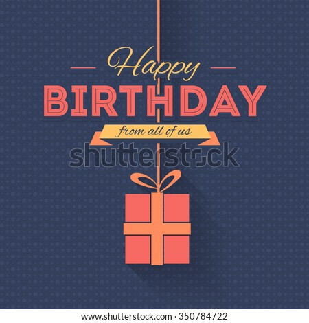 Long Shadow Style Hanging Gift Box and Stylish Text Happy Birthday. Greeting Card, Banner Design - stock vector