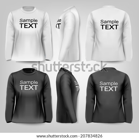 Long sleeved female t-shirts with sample text space. Vector.  - stock vector